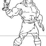 Samson, Samson With Jawbone Of An Ass Coloring Page: Samson with Jawbone of an Ass Coloring Page