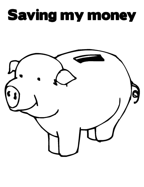 saving my money in piggy bank coloring page