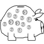 Piggy Bank, Saving Your Money In Piggy Bank Coloring Page: Saving Your Money in Piggy Bank Coloring Page