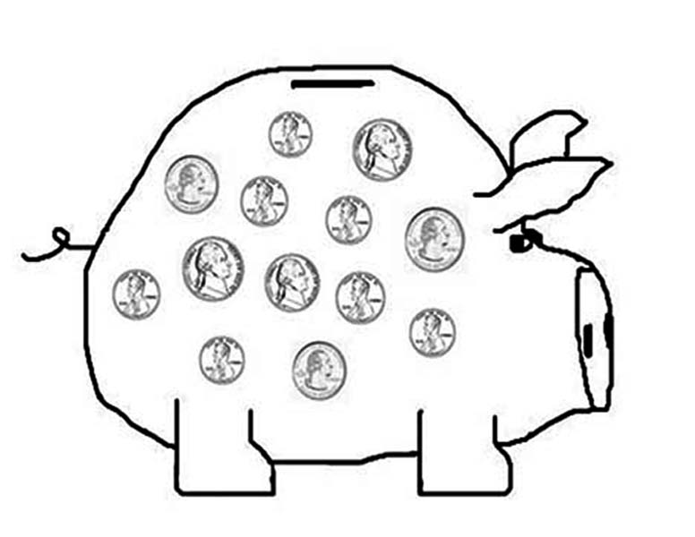 Piggy Bank, : Saving Your Money in Piggy Bank Coloring Page