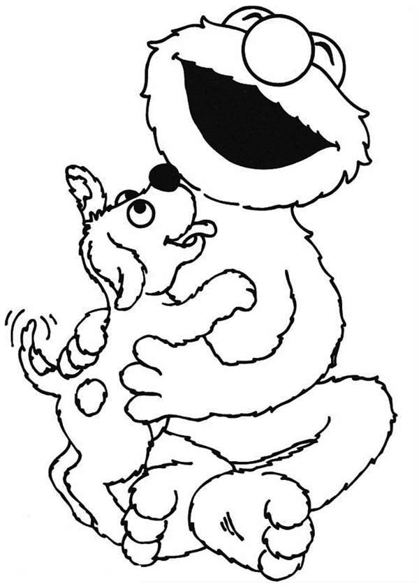 Sesame Street, : Sesame Street Elmo Lick by Little Dog Coloring Page
