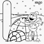 Sesame Street, Sesame Street Elmo And Igloo House Coloring Page: Sesame Street Elmo and Igloo House Coloring Page