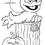 Sesame Street, Sesame Street Halloween With Oscar Coloring Page: Sesame Street Halloween with Oscar Coloring Page