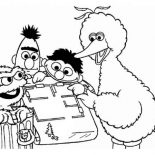 Sesame Street, Sesame Street Playing Maze Coloring Page: Sesame Street Playing Maze Coloring Page