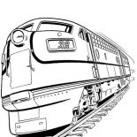 Railroad, Set Of Diesel Train And On Railroad Coloring Page: Set of Diesel Train and on Railroad Coloring Page