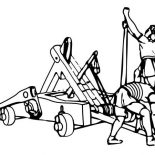 Middle Ages, Setting A Trebuchet At War In Middle Ages Coloring Page: Setting a Trebuchet at War in Middle Ages Coloring Page