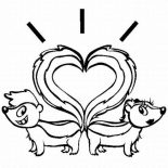 Skunk, Skunk Tail Heart Shaped Coloring Page: Skunk Tail Heart Shaped Coloring Page