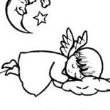 Angels, Sleeping Angels Unde The Crescent Moon Coloring Page: Sleeping Angels Unde the Crescent Moon Coloring Page