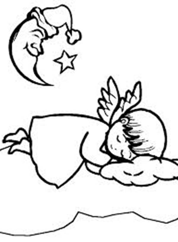 Angels, : Sleeping Angels Unde the Crescent Moon Coloring Page