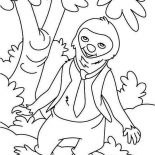 Sloth, Sloth Wearing Tie Coloring Page: Sloth Wearing Tie Coloring Page