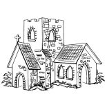 Middle Ages, Small Church In Middle Ages Coloring Page: Small Church in Middle Ages Coloring Page