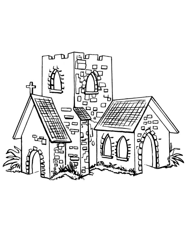 Middle Ages, : Small Church in Middle Ages Coloring Page
