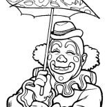 Clown, Smiling Clown Under Umbrella Coloring Page: Smiling Clown Under Umbrella Coloring Page