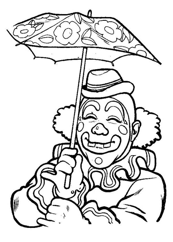 Clown, : Smiling Clown Under Umbrella Coloring Page