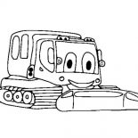 Digger, Smiling Digger Tractor Coloring Page: Smiling Digger Tractor Coloring Page