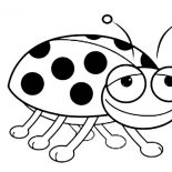 Lady Bug, Smiling Lady Bug Coloring Page: Smiling Lady Bug Coloring Page