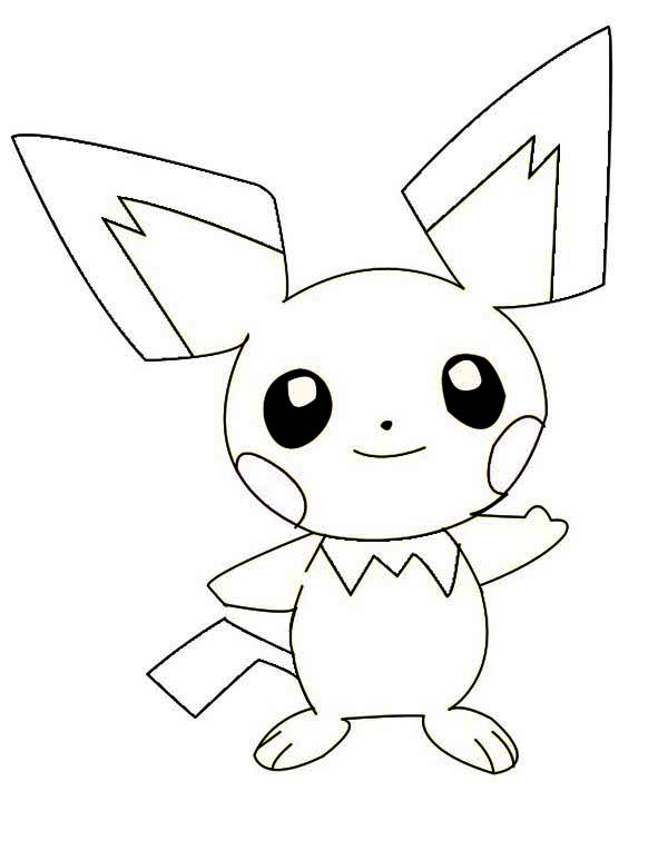 smiling pichu coloring page color