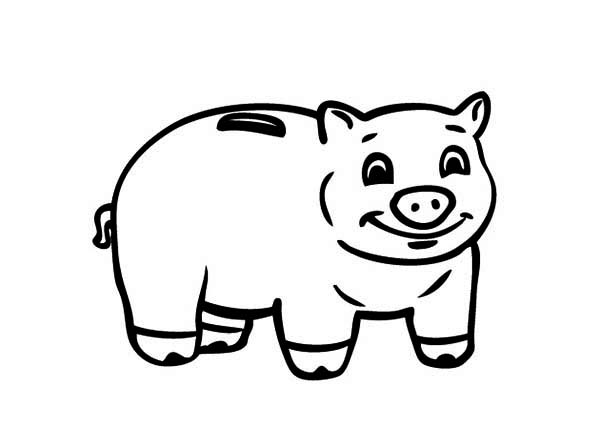 Piggy Bank, : Smiling Piggy Bank Coloring Page