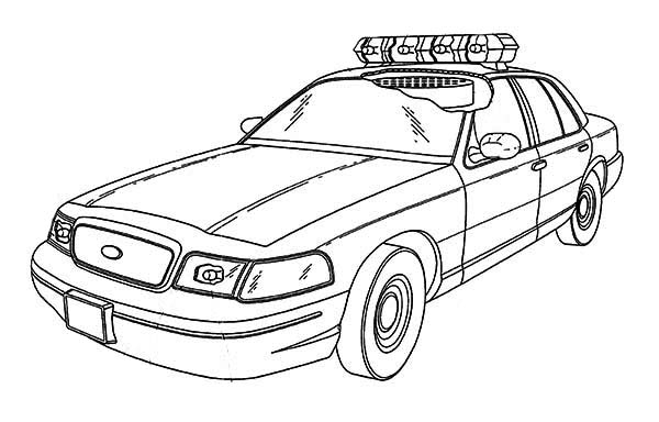 Police Car, : Special Force Police Car Coloring Page