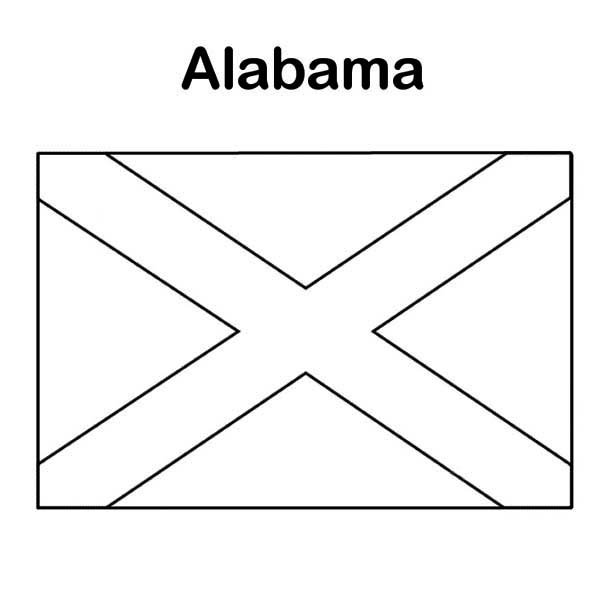 State Flag, : State Flag of Alabama Coloring Page