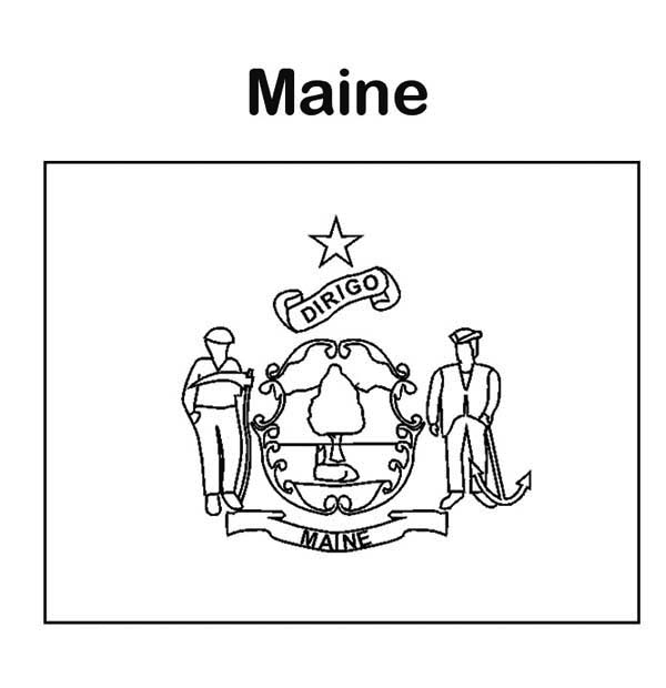 State Flag, : State Flag of Maine Coloring Page