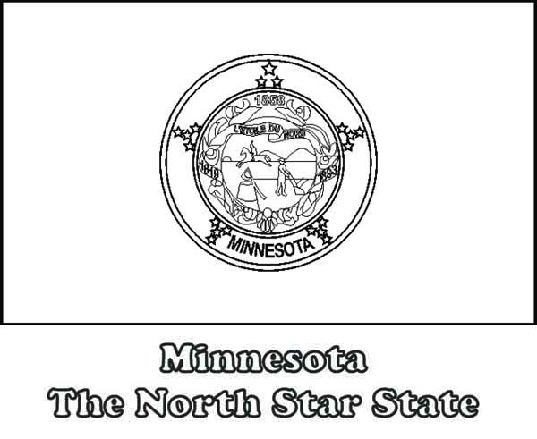 State Flag, : State Flag of Minnesota Coloring Page