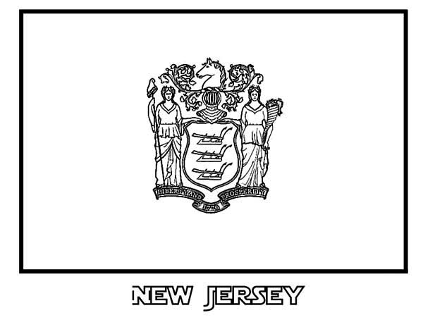State Flag, : State Flag of New Jersey Coloring Page
