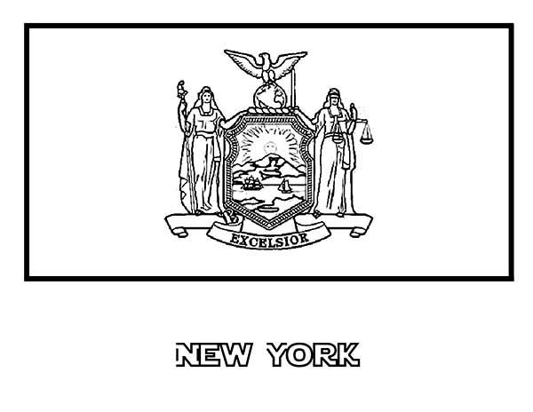 State Flag, : State Flag of New York Coloring Page