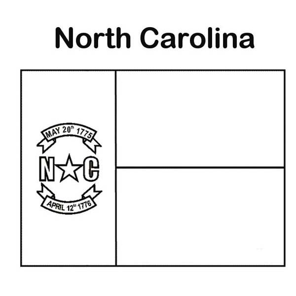 State Flag, : State Flag of North Carolina Coloring Page