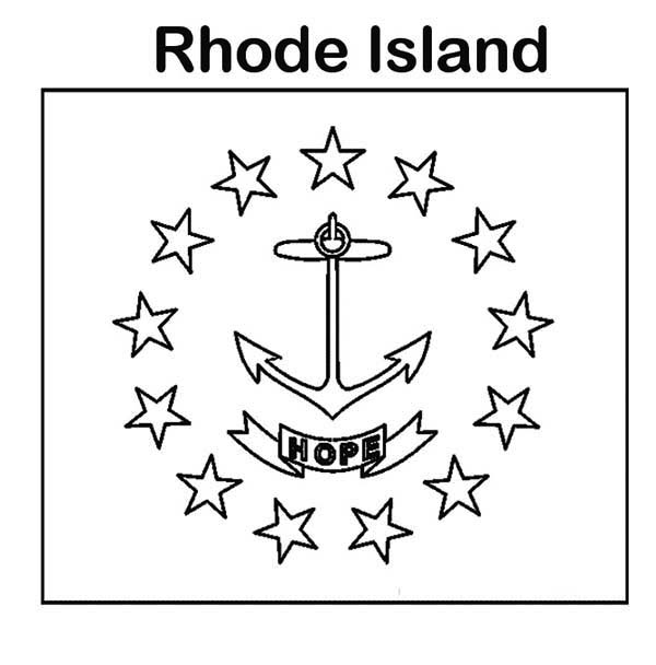 State Flag, : State Flag of Rhode Island Coloring Page
