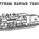 Railroad, Steam Engine Train On Railroad Coloring Page: Steam Engine Train on Railroad Coloring Page