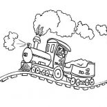 Railroad, Steam Locomotive On Bumpy Railroad Coloring Page: Steam Locomotive on Bumpy Railroad Coloring Page