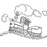Trains, Steam Train On Bumpy Railroad Coloring Page: Steam Train on Bumpy Railroad Coloring Page