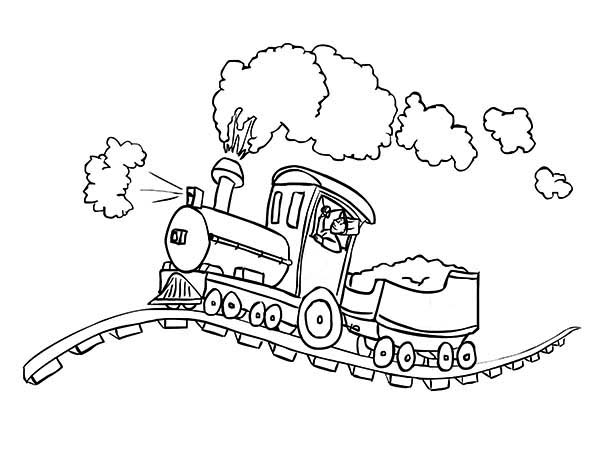 Trains, : Steam Train on Bumpy Railroad Coloring Page