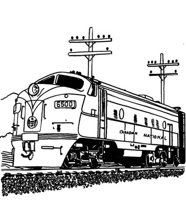 Railroad, : Streamlined Diesel Engine Train on Railroad Coloring Page