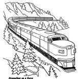Trains, Streamliner Train On A Curve Coloring Page: Streamliner Train on a Curve Coloring Page