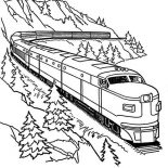 Railroad, Streamliner On A Curve Railroad Coloring Page: Streamliner on a Curve Railroad Coloring Page