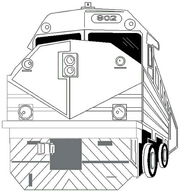 Trains, : Strong Locomotive Train Coloring Page