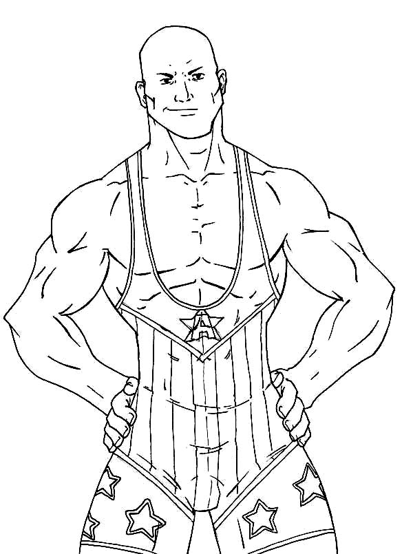 Wrestling, : Strong Wrestling Contender Coloring Page