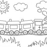 Trains, Sun Is Smiling Over A Train Coloring Page: Sun is Smiling Over a Train Coloring Page