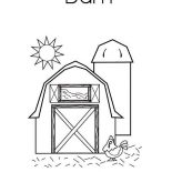 Barn, Sunshine Over A Barn Coloring Page: Sunshine Over a Barn Coloring Page
