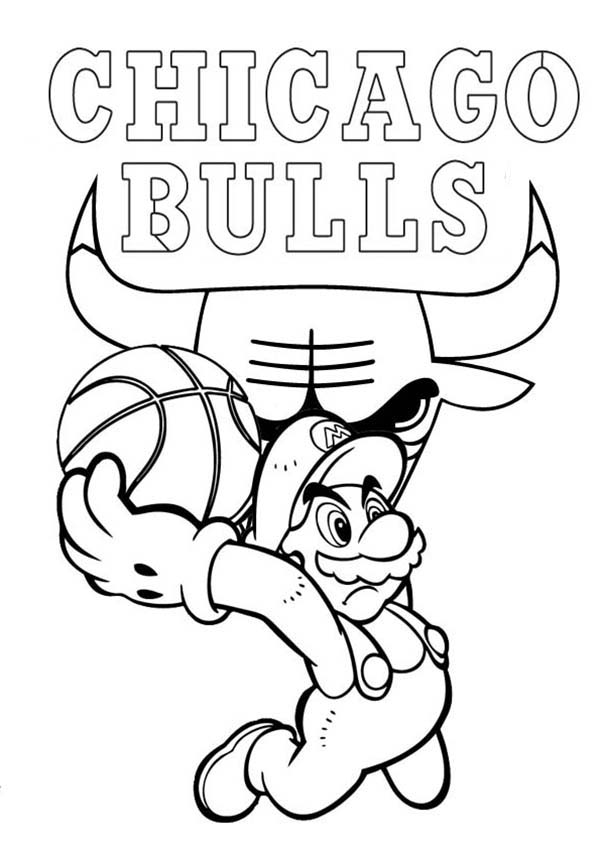 NBA, : Super Mario Playing for NBA Chicago Bulls Coloring Page