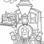 Railroad, Surprised Man In The Train On Railroad Coloring Page: Surprised Man in the Train on Railroad Coloring Page