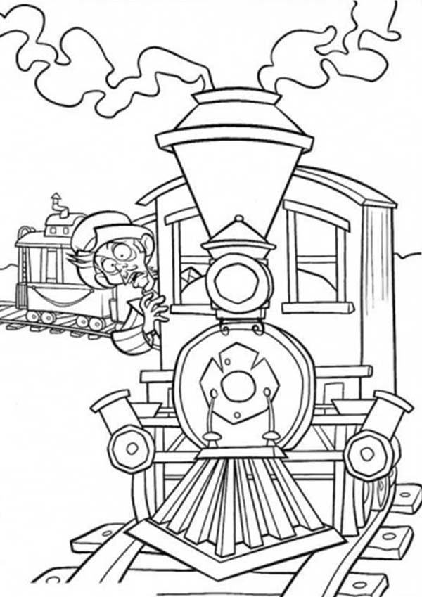 Railroad, : Surprised Man in the Train on Railroad Coloring Page