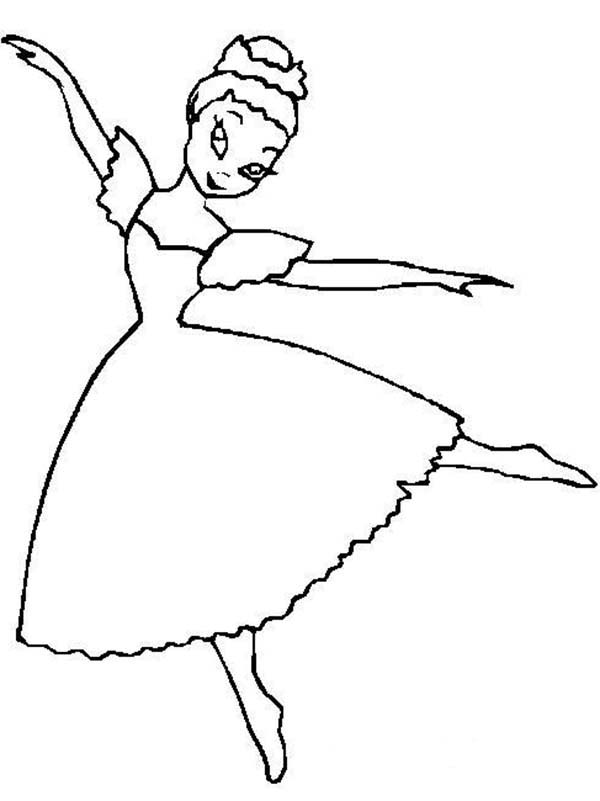 Ballerina, : Swab Dance Ballerina Coloring Page