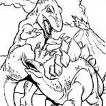 T-Rex, T Rex Fighting Stegosaurus Coloring Page: T Rex Fighting Stegosaurus Coloring Page