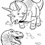 T-Rex, T Rex Fighting With Triceratops Coloring Page: T Rex Fighting with Triceratops Coloring Page