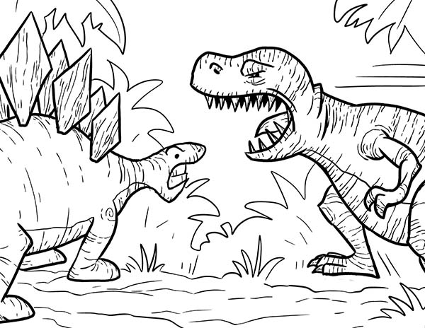 T-Rex, : T Rex Had a Lot of Sharp Teeth Coloring Page