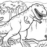 T-Rex, T Rex Hunting For Smaller Dinosaurus Coloring Page: T Rex Hunting for Smaller Dinosaurus Coloring Page