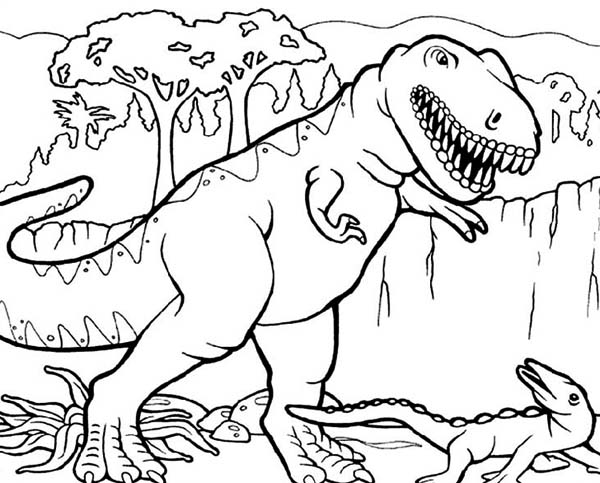 T Rex Hunting For Smaller Dinosaurus Coloring Page Color Luna